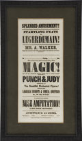 """Military & Patriotic:Civil War, Charming Mid-Nineteenth Century Magician's Broadside, approximately 8"""" x 17.75"""", printed by Calhoun Steam Printing Co., Hart..."""