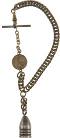 Military & Patriotic:Civil War, Civil War Watch Fob Employing a Minié Bullet and Miniature ID Disc. Brass chain fob with standard attachments, three ring Mi...