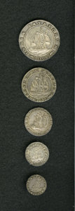 Netherlands East Indies: , Netherlands East Indies: Batavian Republic early sailing ship set1802 including: 1/16 Gulden, KM78, AU, toned with luster; 1/8Gulden, KM79, Choice ... (Total: 5 Coins Item)