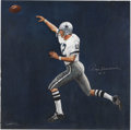 Football Collectibles:Others, Roger Staubach Signed Original Acrylic Painting. Painted by artist Wynne Woolley and once owned by the Hall of Fame quarter...