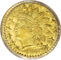 California Fractional Gold: , 1876 25C Indian Round 25 Cents, BG-882, R.7, MS65 PCGS. A well-madeGem of this rare die pairing. The fields are smooth and...