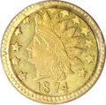 California Fractional Gold: , 1874 50C Indian Round 50 Cents, BG-1071, R.7, MS64 PCGS. The PlateCoin for the variety in the second edition of Breen-...