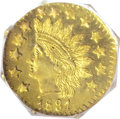 California Fractional Gold: , 1881 50C Indian Octagonal 50 Cents, BG-956, High R.4, MS66 DeepMirror Prooflike NGC. Dazzling field reflectivity and smoot...