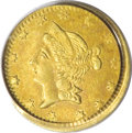California Fractional Gold: , 1864 50C Liberty Round 50 Cents, BG-1016A, R.8 MS63 PCGS. PCGS hascertified just three examples of BG-1016A, and the prese...