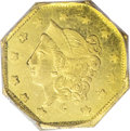 California Fractional Gold: , 1870 $1 Liberty Octagonal 1 Dollar, BG-1107, R.5, MS63 PCGS.Brightly reflective yellow-gold fields greet the viewer of thi...