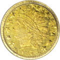 California Fractional Gold: , 1873 25C Indian Round 25 Cents, BG-874, Low R.6--DoubleStruck--MS62 PCGS. This double struck rare variety smalldenominati...