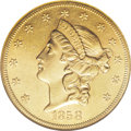 Liberty Double Eagles: , 1858-S $20 AU58 NGC. While reasonably obtainable in lower grades,the 1858-S is scarce in the upper reaches of AU, and it i...