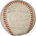 Autographs:Baseballs, 1940 New York Yankees Team Signed Baseball. A star-studded New York Yankees squad is the focus of the fine OAL (Harridge) o...