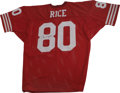 Football Collectibles:Others, Jerry Rice Signed Jersey. One of the most highly-regarded wideouts in the history of the game has applied a 10/10 black sha...