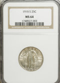 Standing Liberty Quarters: , 1918-S 25C MS64 NGC. NGC Census: (130/88). PCGS Population(158/86). Mintage: 11,072,000. Numismedia Wsl. Price for NGC/PCG...