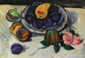 Fine Art - Painting, Russian:Modern (1900-1949), ILYA MASHKOV (Russian, 1881-1944). Still Life with Plums andPink Flower. Oil on canvas. 20 x 28 inches (50.8 x 71.1 cm)...