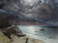 Paintings, IVAN KONSTANTINOVICH AIVAZOVSKY (Russian, 1817-1900). Night at Gurzof, 1891. Oil on canvas. 24 x 32 inches (61.0 x 81.3 ...
