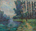 Fine Art - Painting, Russian:Modern (1900-1949), MIKHAIL FEDOROVICH LARIONOV (Russian/French, 1881-1964).Impressionist Landscape. Oil on canvas. 15-1/4 x 18-1/4inches ...