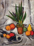 Fine Art - Painting, Russian, ILYA MASHKOV (Russian, 1881-1944). Still Life with Plant and Fruit, 1914-1915. Oil on canvas. 48 x 35-1/4 inches (121.9 ...