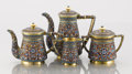 Silver Holloware, Continental:Holloware, A SILVER GILT AND CLOISONNÉ ENAMEL TEA SERVICE. Gustav Klingert,Moscow, Russia, 1899-1908. Marks: 84 (left facing kokos...(Total: 4 Items)