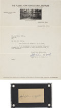 "Autographs:Military Figures, Alvin York: Typed Letter Signed and Signed Card, ""Sgt. Alvin C. York"". January 12, 1932, Jamestown, Tennessee. One page,... (Total: 2 Items)"