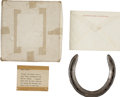 Antiques:Folk Art, Horse Racing: Native Dancer, Horseshoe and Lock of ManeHair. The shoe is in the original box with a label (now ... (Total:2 Items)