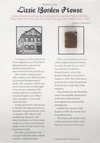"""Lizzie Borden: Piece of Chimney Brick from the Borden Murder House. The fragment of brick is .75"""" x 1"""" and mou..."""