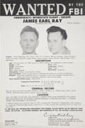 Antiques:Posters & Prints, James Earl Ray: An Original FBI Wanted Poster for the Assassin ofMartin Luther King Jr. This 1977 poster was issued when Ra...