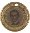 Political:Ferrotypes / Photo Badges (pre-1896), Lincoln & Hamlin: Tiny Campaign Ferrotype....