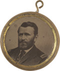 Political:Ferrotypes / Photo Badges (pre-1896), Grant & Colfax Two-Sided Ferrotype....