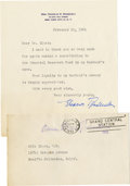 """Autographs:U.S. Presidents, Eleanor Roosevelt: Typed Letter Signed with Free Franked Original Envelope.. -February 10, 1961. New York. One page. 6"""" x 7""""... (Total: 2 Items)"""