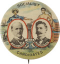 Political:Pinback Buttons (1896-present), Debs & Hanford: 1904 Socialist Party Jugate Campaign Button....