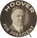 """Political:Pinback Buttons (1896-present), Beautiful """"Hoover For President"""" Campaign Button...."""