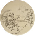 "Political:Pinback Buttons (1896-present), William Jennings Bryan: A Rare 2 1/8"" Cartoon Button Design. Shows the 1908 Democratic nominee, riding a donkey, winning a r..."
