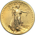 High Relief Double Eagles, 1907 $20 High Relief, Flat Rim--Improperly Cleaned--NCS. XF Details....