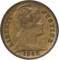 """1942 """"One Cent"""" Pattern, Judd-2063, Low R.7, MS64 NGC....(PCGS# 62401)"""