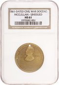 """Political:Tokens & Medals, George McClellan: """"War of 1861"""" Brass Dog Tag, NGC MS-61, 29mm...."""
