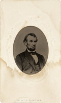 "Photography:Tintypes, Abraham Lincoln: A Fine Large Tintype. The classic ""five dollarbill pose,"" set into original carte de visite. The card ..."