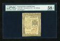 Colonial Notes:Pennsylvania, Pennsylvania December 8, 1775 40s PMG Choice About Unc 58 EPQ....