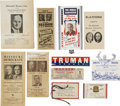 Political:Small Paper (1896-present), Harry S. Truman: A Significant Collection of Eleven Paper Items, Mostly Quite Unusual. ... (Total: 11 Items)