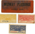 General Historic Events:World Fairs, World's Columbian Exposition: Four Rare Midway Tickets.... (Total: 4 Items)