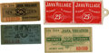 General Historic Events:World Fairs, World's Columbian Exposition: Four Tickets from Java Village....(Total: 4 Items)