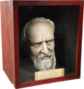 "Political:3D & Other Display (pre-1896), Rutherford B. Hayes: Life-Size, Realistically Painted Bust. Mountedby wire in a red painted wooden box, 13"" x 15"". The head..."