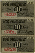 General Historic Events:World Fairs, World's Columbian Exposition: Three Connected Ice Railway Concession Tickets.... (Total: 4 Items)