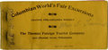 General Historic Events:World Fairs, World's Columbian Exposition. Ticket Book for the Thomas Foreign Tourist Company....