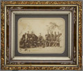 """Military & Patriotic:Civil War, Remarkable Albumen of a Group of Federal Soldiers Enjoying a Meal, 9"""" x 7"""", along with a musical interlude...."""