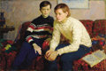 Fine Art - Painting, Russian, LEV SERAFIMOVICH KOTLYAROV (Russian, b. 1925). The Artist's Sons, 1969. Oil on canvas. 39-1/2 x 59 inches (100.3 x 149.9...