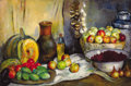 Fine Art - Painting, Russian, IVAN VASILIEVICH DMITRIEV (Russian, 1902-1975). Still Life withCherries, 1938. Oil on canvas. 35 x 53 inches (88.9 x 13...