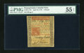 Colonial Notes:Pennsylvania, Pennsylvania April 10, 1775 L5 PMG About Uncirculated 55 EPQ....