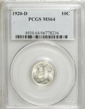 Mercury Dimes: , 1920-D 10C MS64 PCGS. PCGS Population (61/28). NGC Census: (46/41).Mintage: 19,171,000. Numismedia Wsl. Price for NGC/PCGS...