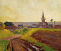 Fine Art - Painting, European:Modern  (1900 1949)  , EDOUARD-LÉON CORTÈS (French, 1882-1969). Country Church. Oil on board. 13 x 14-3/4 inches (33.0 x 37.5 cm). Signed lower...