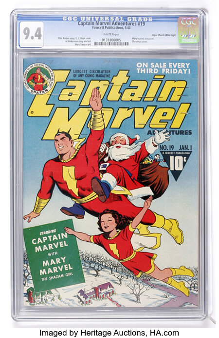 Captain Marvel Adventures #19 Mile High pedigree (Fawcett, 1943) CGC NM 9.4 White pages....