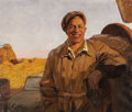 Fine Art - Painting, Russian, VALENTIN BOGDANOV (Russian, 1919-1985). Man in Landscape, 1957. Oil on canvas. 24 x 38 inches (61.0 x 96.5 cm). Signed a...