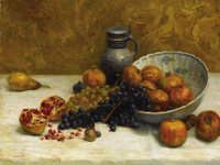 French School (Late 19th Century) Still Life with Pomegranates Oil on canvas 24-1/2 x 31-1/2 inch