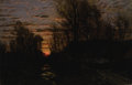 Fine Art - Painting, European:Antique  (Pre 1900), EMILE ADÉLARD BRETON (French, 1831-1902). Winter Sunset. Oilon canvas. 22 x 33 inches (55.9 x 83.8 cm). Signed lower ri...